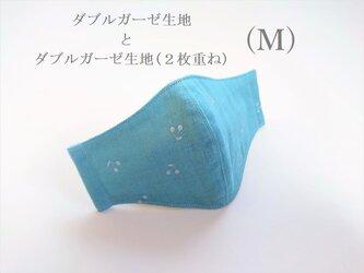 横顔キレイなガーゼ立体マスク*Mサイズ*(さくらんぼターコイズ・6重ガーゼ)の画像
