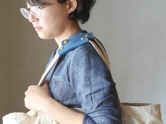【2本セット】本革 ハンドル カバー 持ち手カバー  全7色 青  重さ軽減/汚れ防止 エコバック キャンバス バッグ  にの画像