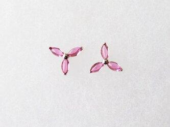 K14WG マーキス形ピンクトルマリンのピアスの画像