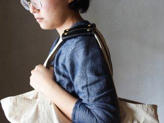 【2本セット】本革 ハンドル カバー 持ち手カバー  黒 重さ軽減/汚れ防止 エコバック キャンバス バッグ が おしゃれ にの画像