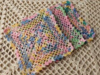 レース編みのコースター 3枚・花の画像