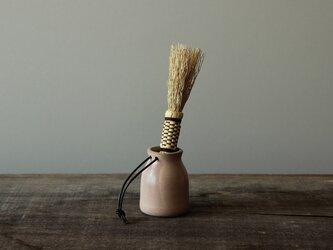 コーヒーブラシ×革紐付き陶器スタンド セットの画像