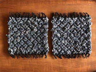裂き織りコースター*2枚セット -denim02-の画像