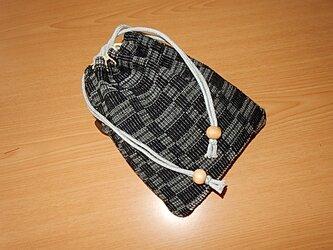 裂き織と大島の信玄袋 巾着袋の画像
