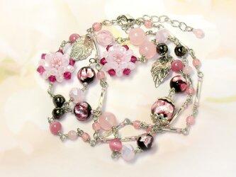 ホタル玉の花ネックレス*ピンクの画像