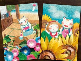 色鉛筆画ポストカード2種の画像