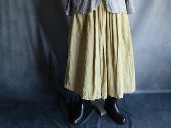 草木染ギャザースカート黄色#2011の画像