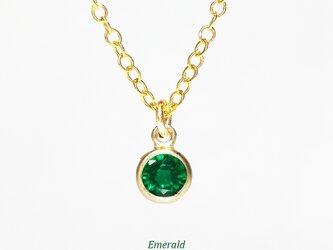 【5月誕生石】輝く1粒。エメラルドのネックレス [送料無料]の画像