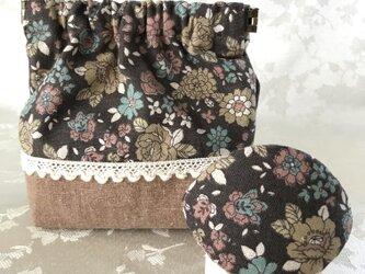 バネポーチと小物入れのセット 花柄 茶色の画像
