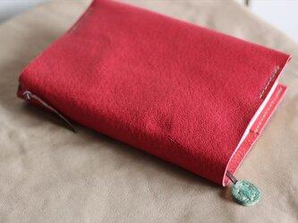 ナチュラルレザーのブックカバー 赤の画像