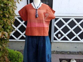 着物リメイク ハンドメイド BORO パンツ(8分丈)の画像