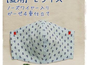 【夏用】(L)イカリ柄水色*ワイヤ入り立体マスクの画像