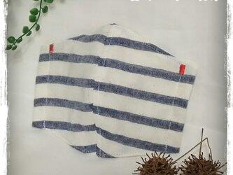 【夏用】(L)白ボーダー*ワイヤ入り立体マスクの画像