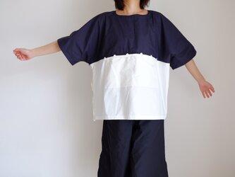 切り替え ワイド Tシャツ / Lサイズ / コットン オックス【 紺とオフ白】ボーダー<受注制作>の画像