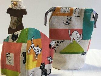 ⭐︎猫マスク &ソコソコ入る底マチ巾着⭐︎ミントマスク 夏用の画像