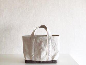 TOTE BAG -bicolor- (M) / ecru × smokybrownの画像