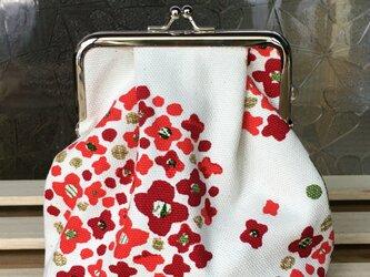 赤いお花のがまぐちポーチの画像
