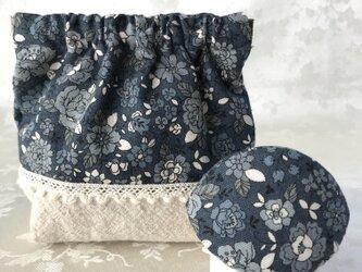バネポーチと小物入れのセット 花柄 濃紺の画像
