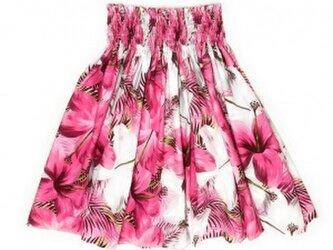 シングルパウスカート スカート丈74cm ハイビスカス柄 ピンク・グレー[pu-211s74]の画像