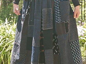 古布藍染めスカート 200502-1の画像