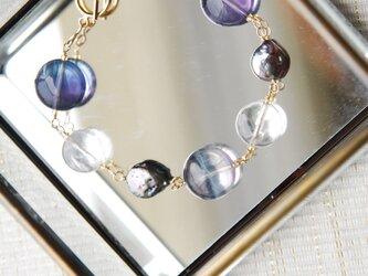 ストライプフローライトと水晶の夏のブレスレット14kgfの画像