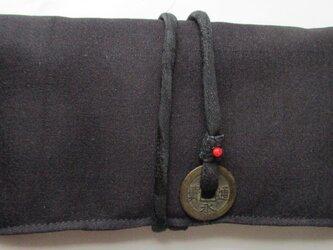 4863 黒の着物で作った和風財布・ポーチ #送料無料の画像