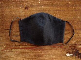 Lサイズ:Wガーゼのマスク(ブラック)/フィルターポケット、ノーズフィッター付きの画像