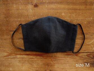 Mサイズ:Wガーゼのマスク(ブラック)/フィルターポケット、ノーズフィッター付きの画像