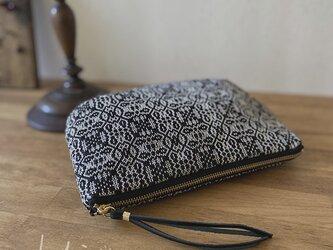 pouch[手織りポーチ] ブラック×シルバグレーの画像