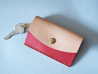 カード&キーケース イタリアンレザー×ヌメ革 レッドの画像