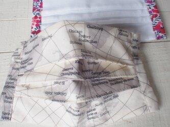 プリーツマスク総 地図★生地は晒2枚+コットン1枚=3枚重ねの画像
