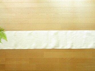 1)真っ白の麻(ラミー)の手織りテーブルランナーの画像