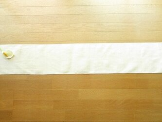 2)真っ白の麻(ラミー)の手織りテーブルランナーの画像