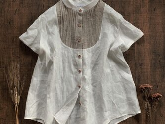 linen pin-tuck  (French linen  off-white)の画像