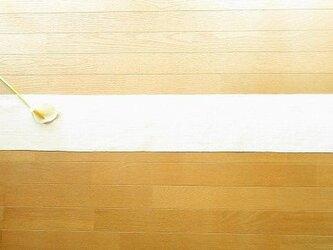10)真っ白の麻(ラミー)の手織りテーブルランナーの画像