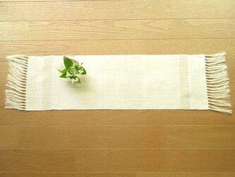 11)真っ白の麻(ラミー)の手織りテーブルセンターの画像
