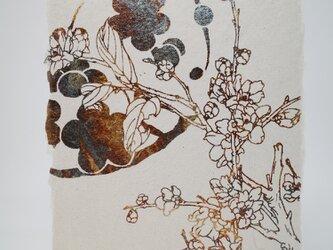 ギルディング和紙葉書 梅 黄混合箔の画像