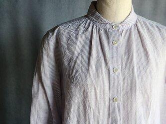 丸襟ブラウス:紫ストライプの画像