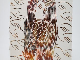 ギルディング和紙葉書 アマビエ1 黄混合箔の画像