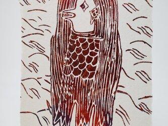 ギルディング和紙葉書 アマビエ1 赤混合箔の画像