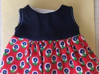 sokko's Dress 濃紺コットン生地と赤地に紺色花柄のワンピースの画像