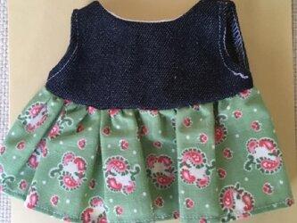 sokko's Dress モスグリーン地にピンクのペーズリー柄ピーススカートの画像