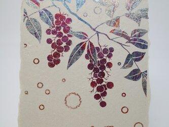 ギルディング和紙葉書 南天 赤混合箔の画像