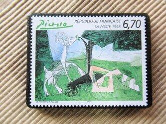 フランス 美術切手ブローチ6171の画像