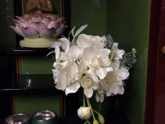 仏花  真珠の涙  雪   (造花、仏壇、お供え、お盆、お彼岸)の画像