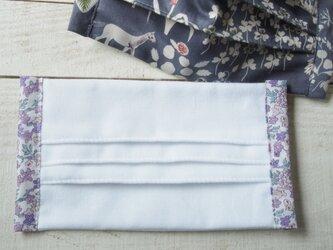 プリーツマスク脇柄 リバティ 薄紫の花柄★生地は晒3枚重ねの画像