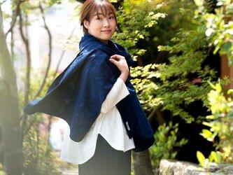 Organic Cotton 藍染 ストール【ボタニカル織り柄】の画像