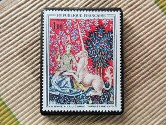 フランス 美術切手ブローチ6182の画像