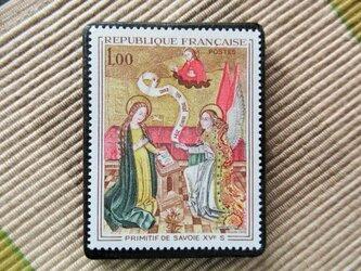 フランス 美術切手ブローチ6183の画像