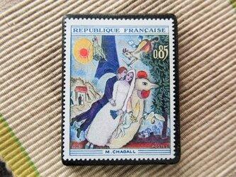 フランス 美術切手ブローチ6184の画像